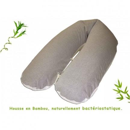 Housse Bambou Choco pour coussin d'allaitement Cledical